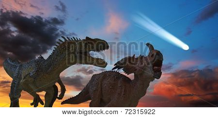 Allosaurus And Styracosaurus Battle As The Comet Approaches