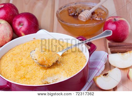 couscous casserole with apples, honey and cinnamon