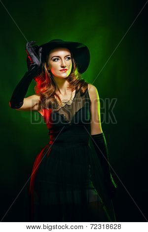 Portrait Of Attractive Witch For Halloween