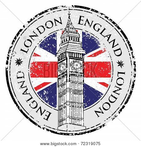Rubber Grunge Stamp London Great Britain