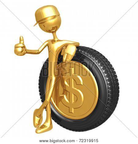 Dollar Gold Coin Hubcap