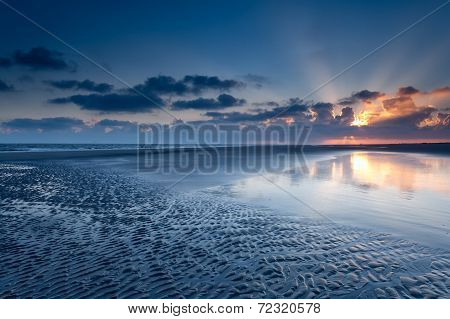 Sunrise Over North Sea Coast At Low Tide