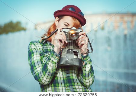 Hipster Woman Making Picture With Retro Camera, Focus On Camera