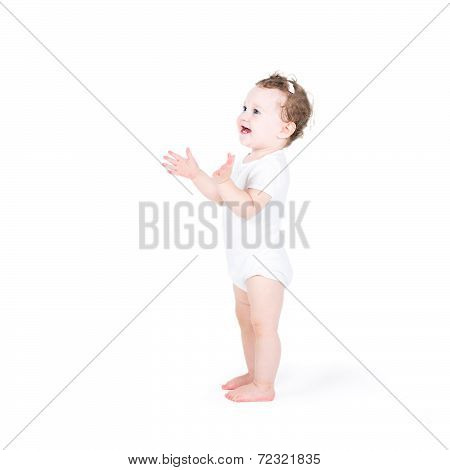 Funny Baby Girl Clapping Hands, On White Background