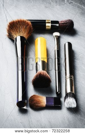 Various Makeup Brushes. Beauty Concept