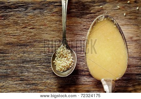 Tahini, Sesame Paste, In A Spoon