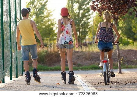 Group Of Friends With Roller Skates In The Park.