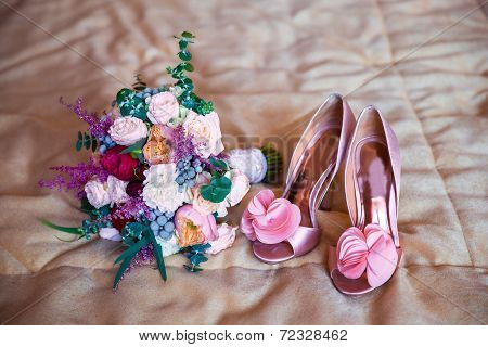 Wedding Accessories For The Morning Of The Bride In Pink . Wedding Bouquet And Shoes Of The Bride.