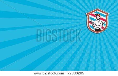 Business Card Barber Holding Scissors Comb Shield Cartoon
