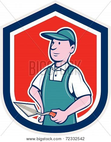 Bricklayer Mason Plasterer Shield Cartoon
