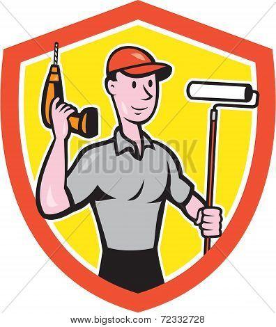 House Painter Paint Roller Handyman Cartoon