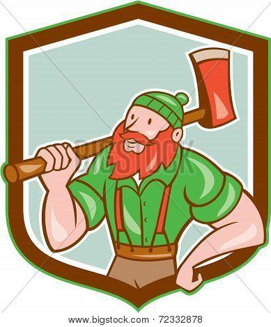Lumberjack Shield Cartoon