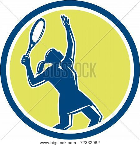 Tennis Player Female Racquet Circle Retro