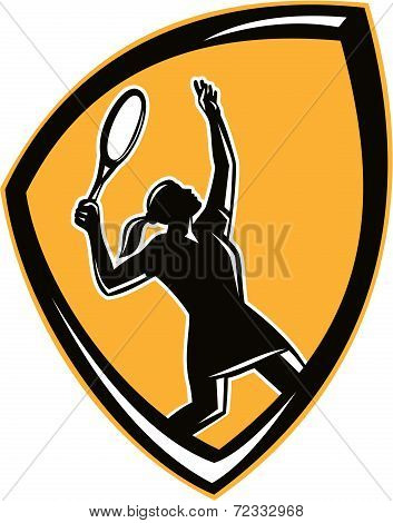 Tennis Player Female Racquet Shield Retro