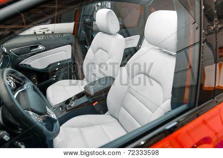 Luxury car interior angle shot