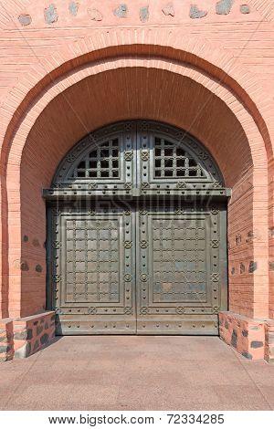 Old Metal Reinforced Big Door In Fortress