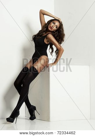 Young Woman Wearing Black Stockings