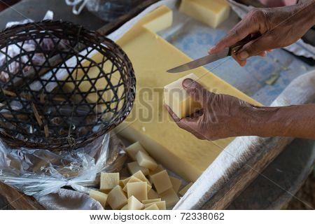 Cuttng Of Fresh Yellow Tofu