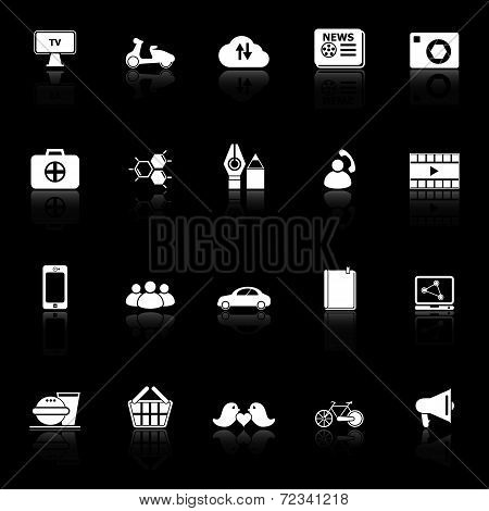 Social Network Icons With Reflect On Black Background