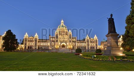 British Columbia Parliament Buildings At Early Dawn