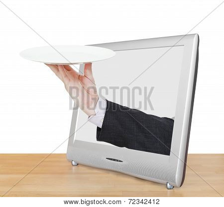 Hand With Empty White Plate Leans Out Tv Screen