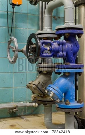 Pressure Valves In Gas Boiler Room