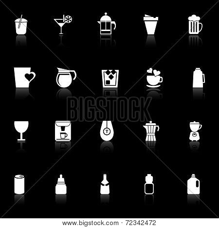 Variety Drink Icons With Reflect On Black Background
