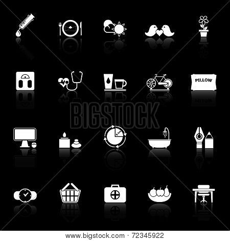 Health Behavior Icons With Reflect On Black Background