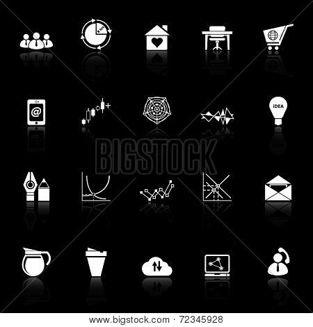 Virtual Organization Icons With Reflect On Black Background