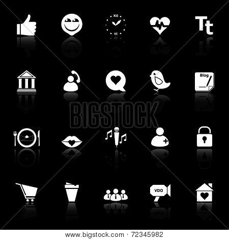 Chat Conversation Icons With Reflect On Black Background