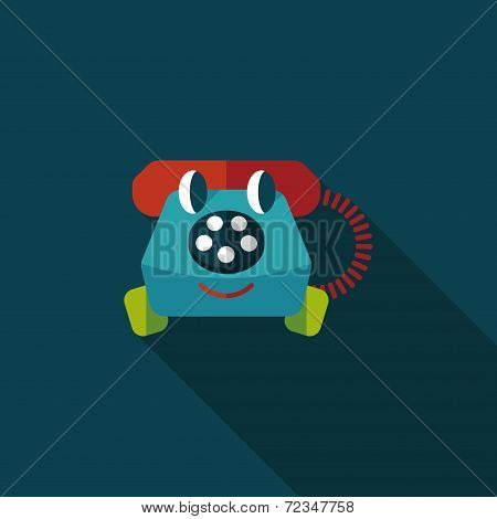 Toy Phone Flat Icon With Long Shadow,eps10