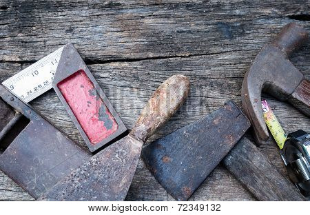 Old Vintage Hand Tools On Wood Background