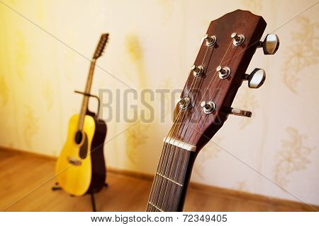 Head Of Acoustic Six-string Guitar