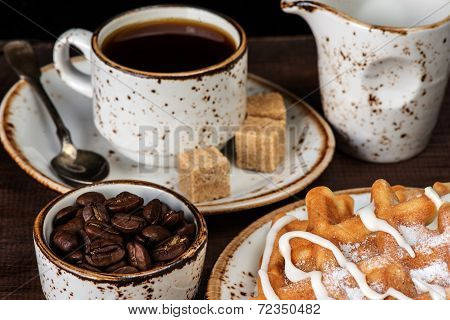 Coffee, Waffles And Ice Cream