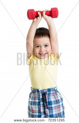 Adorable Boy Making Exercise With Dump-bells Isolated