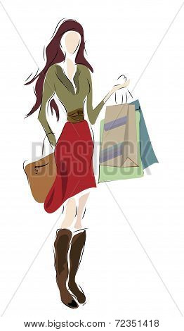 Woman with Shopping with Bags