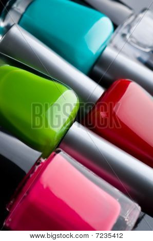 Nail polish bottles close up