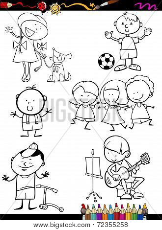 Children Set Cartoon Coloring Page