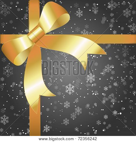 Gift Of Night Snowflakes With A Huge Gold Ribbon And Bow