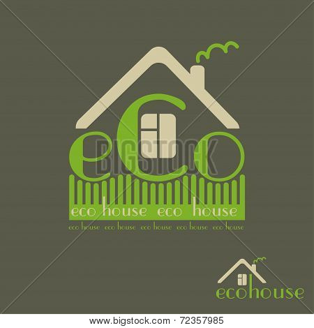 Eco House Eco-friendly Natural Materials Dark Background Emblem