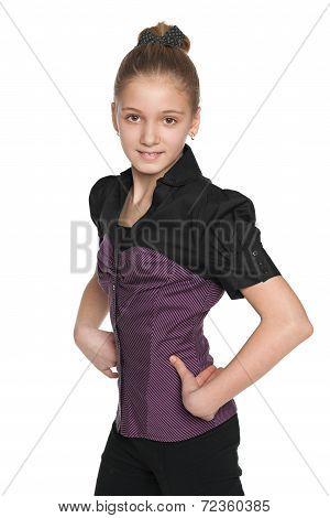 Preteen Girl Walks