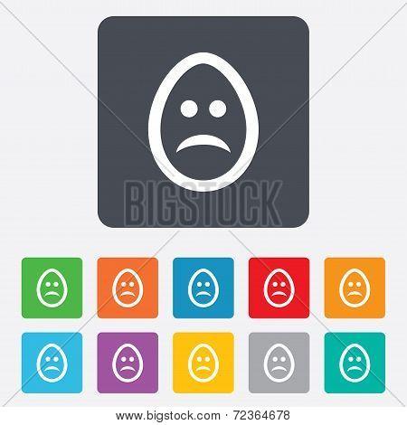Sad egg face sign icon. Sadness symbol.