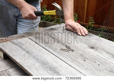 Man Hammers Nails Into Board