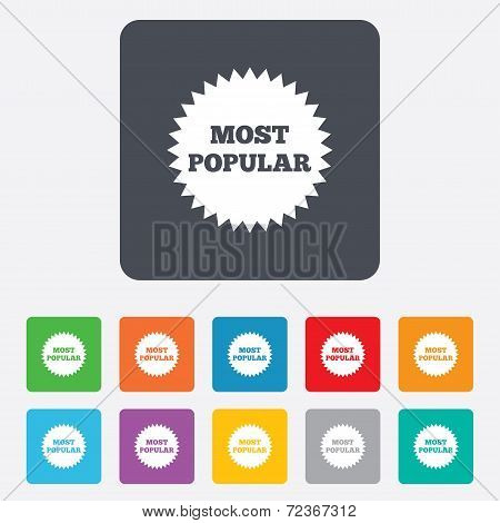 Most popular sign icon. Bestseller symbol.