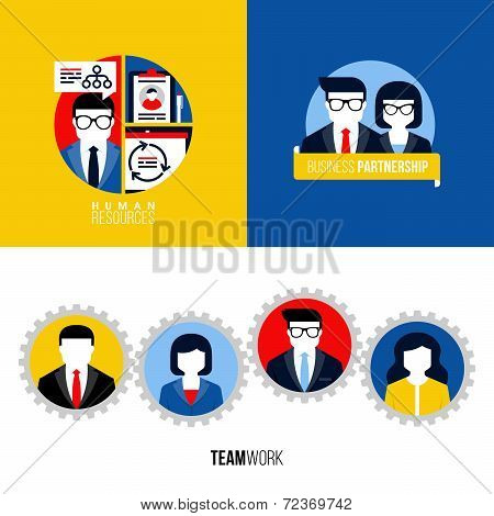 Modern Flat Vector Icons Of Human Resources, Business Partnership, Teamwork