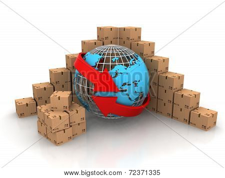 3d cardboard boxes around globe on white background. Worldwide shipping concept