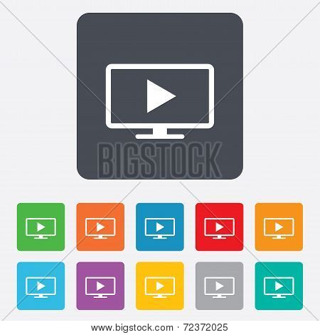Widescreen TV mode sign icon. Television set.