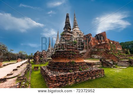 Ancient Buddhist pagoda ruins at Wat Phra Sri Sanphet temple. Ayutthaya Thailand