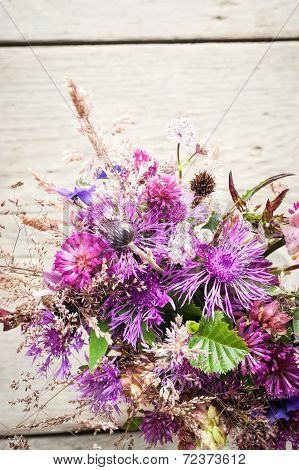 Beautiful Tender Bouquet Of Summer Meadow Flowers