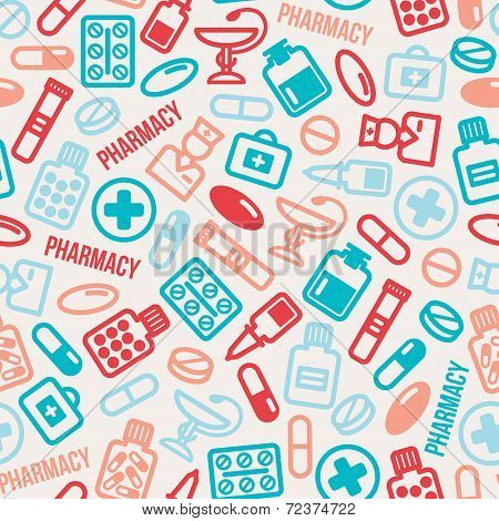 Seamless Pattern Of Pills And Capsules Icons.